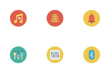 Music, Audio, Video Flat Circle Vol 2 Icon Pack
