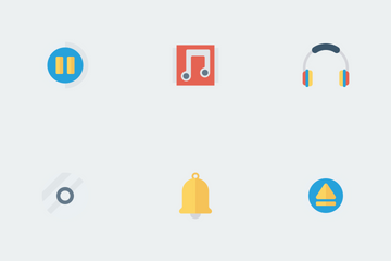 Music, Audio, Video Flat Paper  Icon Pack