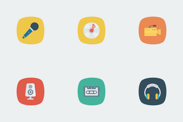Music, Audio, Video Flat Square Rounded Vol 1 Icon Pack