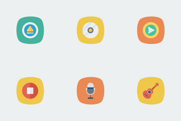 Music, Audio, Video Flat Square Rounded Vol 2 Icon Pack