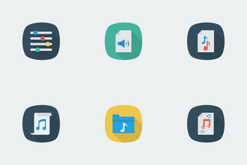Music, Audio, Video Flat Square Shadow Vol 1 Icon Pack