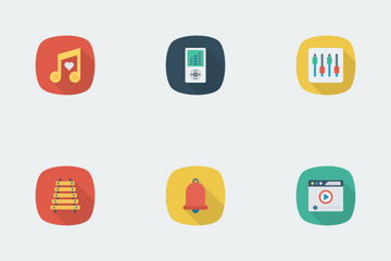 Music, Audio, Video Flat Square Shadow Vol 2 Icon Pack
