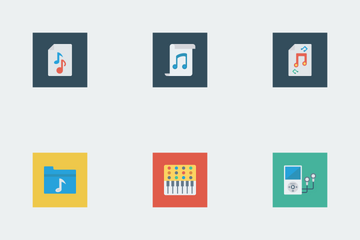 Music, Audio, Video Flat Square Vol 1 Icon Pack