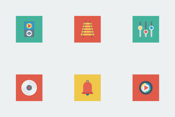 Music, Audio, Video Flat Square Vol 2 Icon Pack