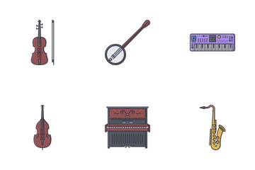 Music Filled Outline Icon Pack