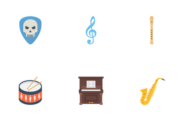 Music Instruments Flat Icons Icon Pack