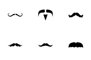 Mustache Glyph Icon Pack