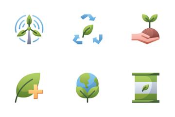 Nature Ecology Alternative Energy Icon Pack