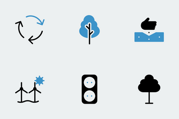 Nature & Ecology Blue Black Icon Pack