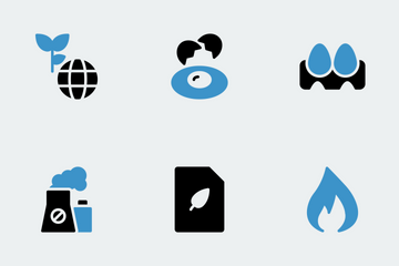 Nature & Ecology Blue Black Icon Pack