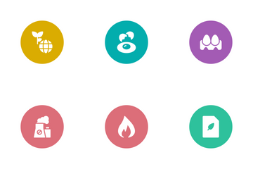 Nature & Ecology Glyphs Circle Icon Pack
