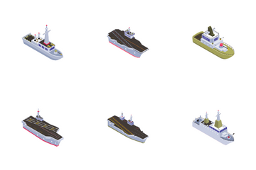 Navy Military Boats And Aircraft Carriers Icon Pack