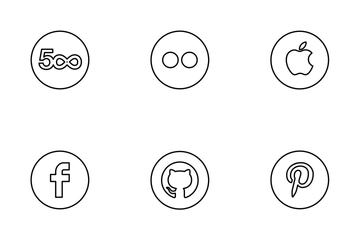 Neon Line Social Circles Black Icon Pack