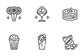 New Food 2 Line Icon Pack