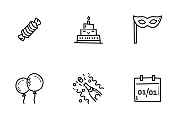 New Year Doodles Icon Pack