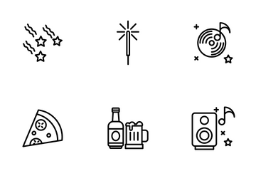 New Year - Outline Icon Pack
