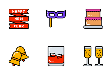 New Years - Bright Fill Icon Pack