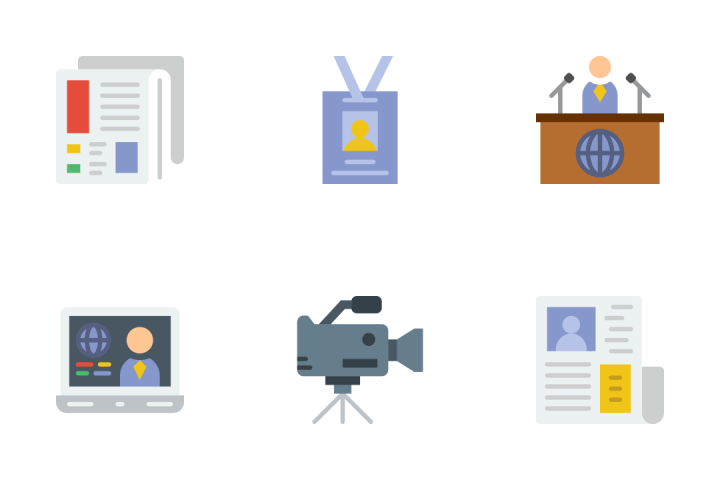 News And Media - Flat Icon Pack