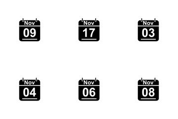 November Calendar 2017 3 - Glyph Icon Pack