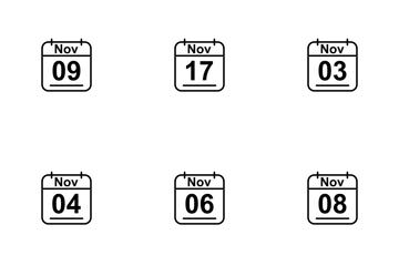 November  Calendar 2017 Line Icon Pack
