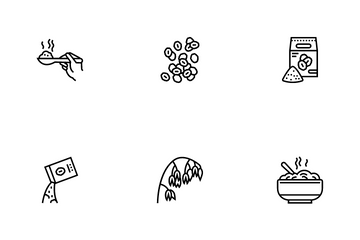 Oatmeal Nutrition Icon Pack