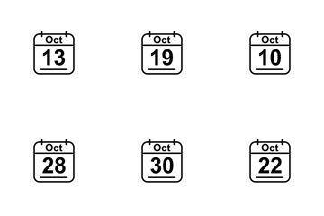October  Calendar 2017 Line Icon Pack