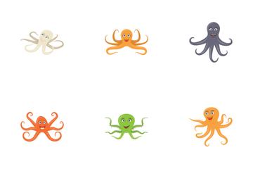 Octopus Cartoon Flat Icon Pack