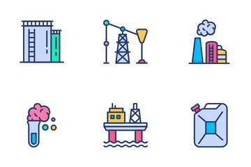 Oil Refinery Icon Pack