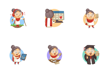 Old Lady Sticker Icon Pack