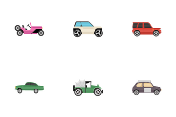 Old Modern Ground Transportation Icon Pack