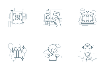 Onboarding Grey Outline Story Icon Pack