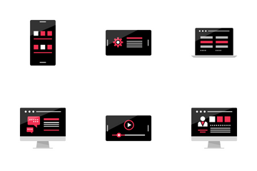 Online Activity And Wireframes 1 Red Icon Pack