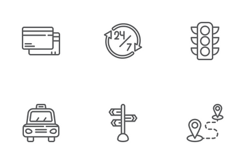 Online Cab Booking Icon Pack