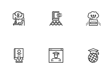 Online Education Book Icon Pack