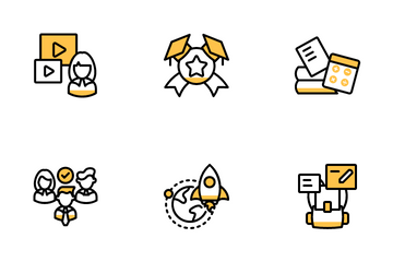Online Education Yellow Icon Pack