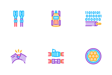 Optical Fiber Cable Icon Pack