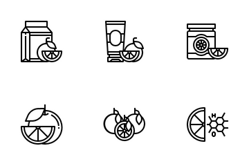 Orange And Orange Extract Products Icon Pack