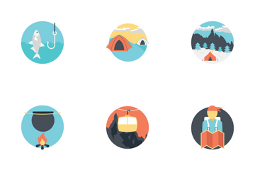 Outdoor Travel And Camping Icon Pack