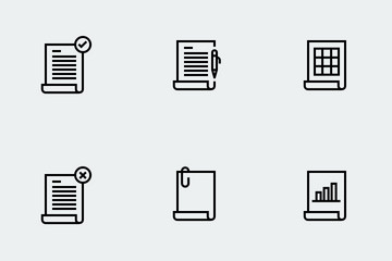 Outlined Document Icon Set Icon Pack