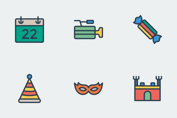 Party & Celebration Flat Color Icon Pack