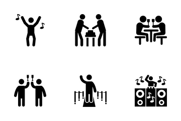 Party Human Glyph Icon Icon Pack