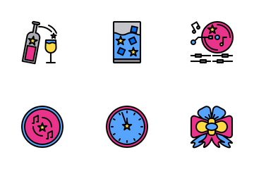 Party Night Color Line Icon Pack
