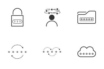 Password Minimalistic Black Line Icon Pack