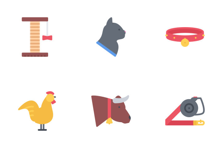 Pets Flat Icon Pack