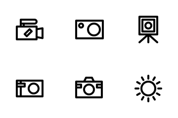 Photography Outline Black Style Icon Pack