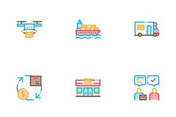 Postal Transportation Company Icon Pack
