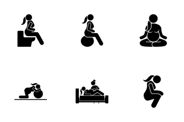 Pregnant Woman Lifestyle Icon Pack
