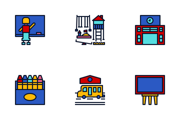Primary School Color Icon Pack