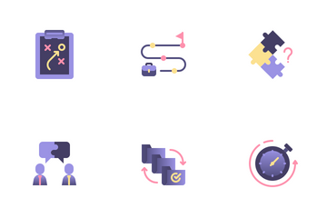 Project Management Flat Colors Icon Pack