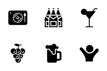 Pub & Bar Solid Style Icon Pack